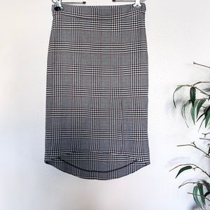 Zara Houndstooth Plaid High Low Hem Pencil Skirt